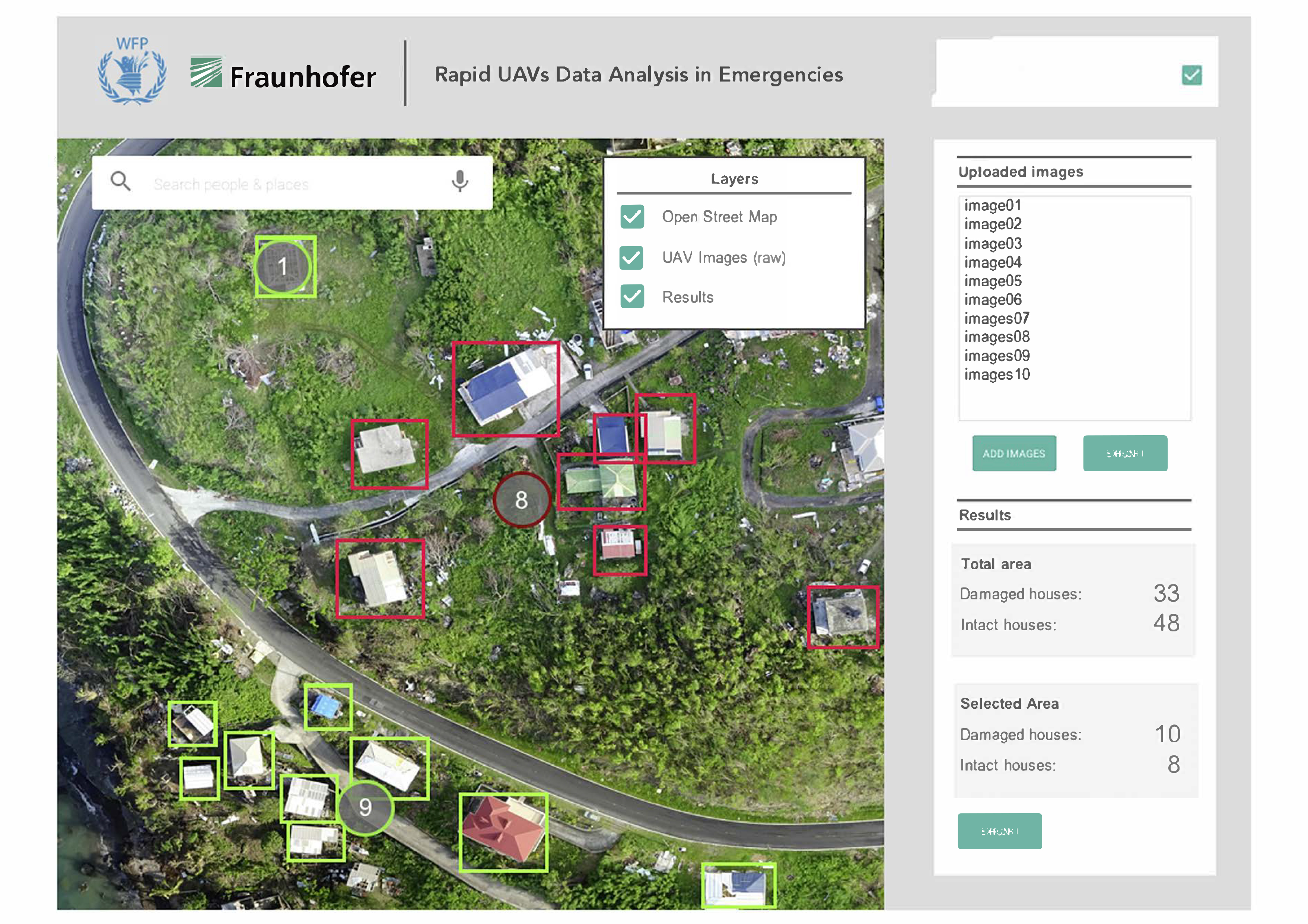 Screenshot eines Prototypoen der Bilderkennungs-Software des Fraunhofer ITWM.
