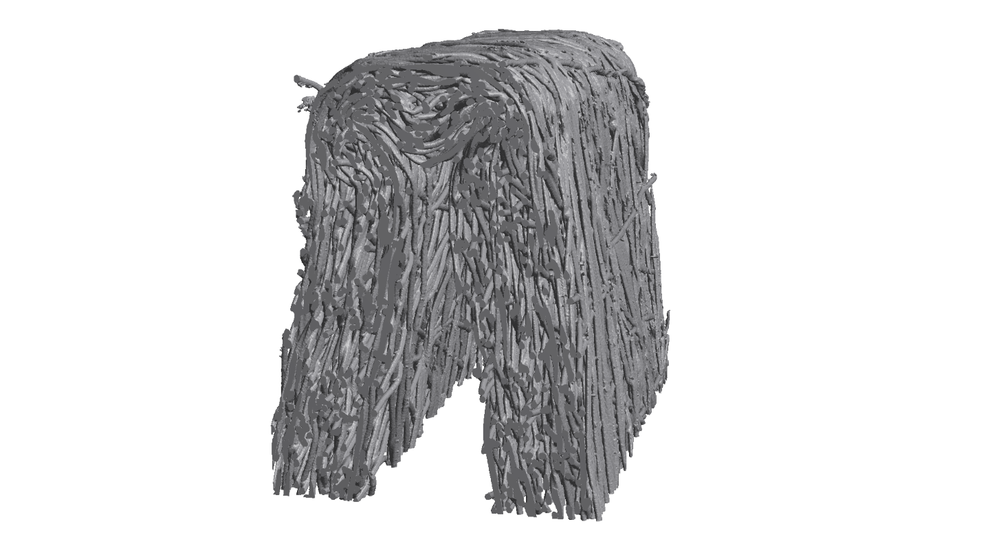 Tip of a filter pleat with embossing: reconstruction of CT image.